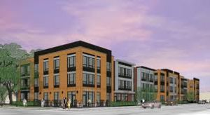 The artists rendering of the building shows two stories of residential and ground floor commercial.