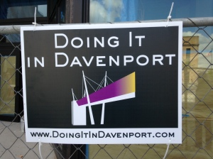 Doing It in Davenport sign is up at the Renwick renovation construction site.