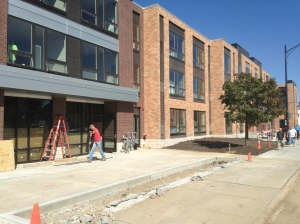 Exterior work is complete on the new Harrison Lofts building in the Hilltop Campus Village