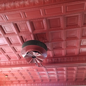The original tin ceiling at 1601 Harrison still shines